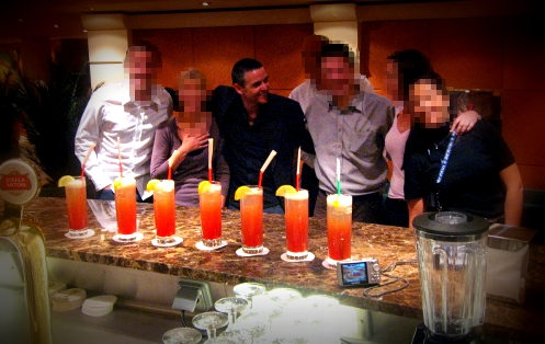 Thirsty Rob hanging with the pixelators on a Mediterranean cruise bar crawl