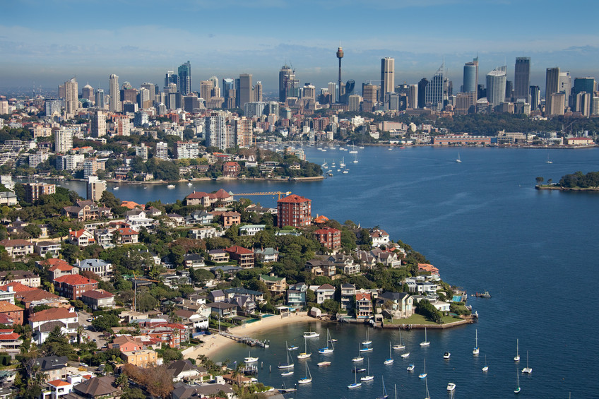 Aerial view of Point Piper looking across to Sydney CBD Credit: Ethan Rohloff – Destination NSW