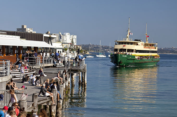 Ferry arriving at relaxed Manly. Photo: Andrew Gregory Destination NSW